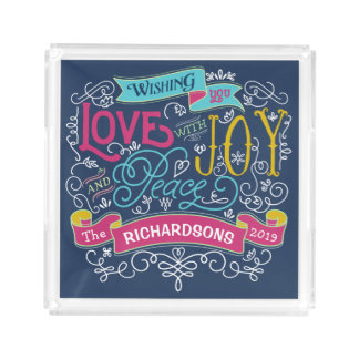 Christmas Typography Love Joy Peace Custom Banner Acrylic Tray