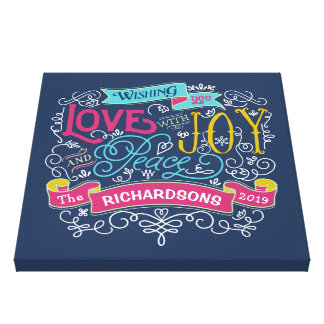 Christmas Typography Love Joy Peace Custom Banner Canvas Print
