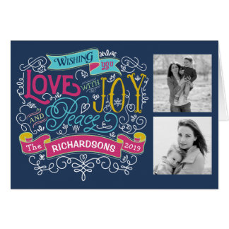 Christmas Typography Love Joy Peace Custom Banner Card