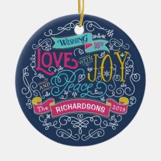 Christmas Typography Love Joy Peace Custom Banner Ceramic Ornament