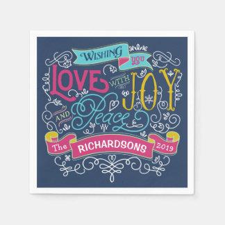 Christmas Typography Love Joy Peace Custom Banner Disposable Serviettes