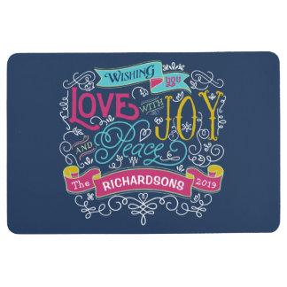 Christmas Typography Love Joy Peace Custom Banner Floor Mat