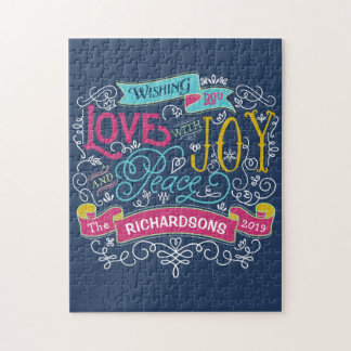 Christmas Typography Love Joy Peace Custom Banner Jigsaw Puzzle