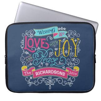 Christmas Typography Love Joy Peace Custom Banner Laptop Sleeve