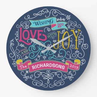 Christmas Typography Love Joy Peace Custom Banner Large Clock