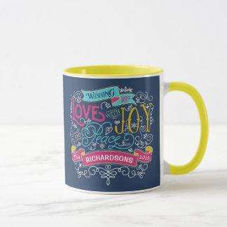 Christmas Typography Love Joy Peace Custom Banner Mug