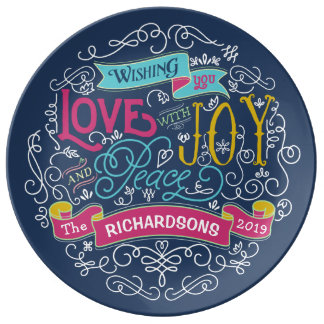 Christmas Typography Love Joy Peace Custom Banner Plate