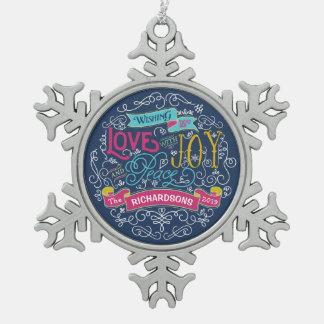 Christmas Typography Love Joy Peace Custom Banner Snowflake Pewter Christmas Ornament