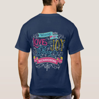 Christmas Typography Love Joy Peace Custom Banner T-Shirt
