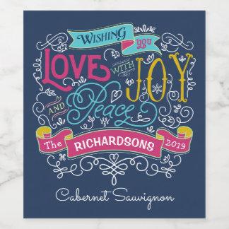Christmas Typography Love Joy Peace Custom Banner Wine Label