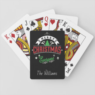 Christmas Typography/Merry Christmas Everyone Playing Cards