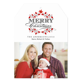 Christmas Typography Red Holly Flat Photo Card 13 Cm X 18 Cm Invitation Card