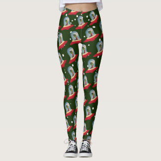 CHRISTMAS UFO FLYING SAUCER by Jetpackcorps Leggings