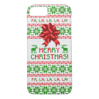 Christmas Ugly Christmas Sweater Red Green Bow iPhone 8/7 Case