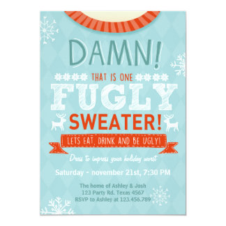 Christmas Ugly sweater party Fugly Sweater red 13 Cm X 18 Cm Invitation Card