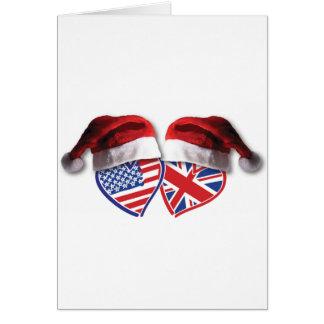 Christmas UK USA Hearts Card