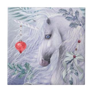 Christmas Unicorn Art Tile