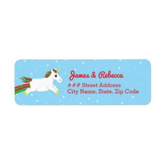 Christmas Unicorn Holiday Return Address Labels