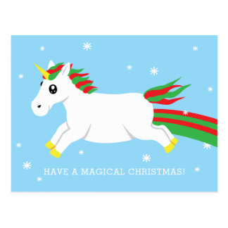 Christmas Unicorn Magical Holiday Postcard
