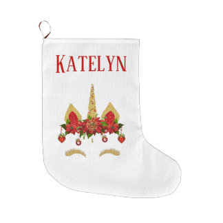 Christmas Unicorn Poinsettia Red Gold Personalized Large Christmas Stocking