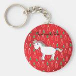 Christmas unicorn red snowman pattern basic round button key ring