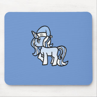 Christmas Unicorn Snow Frosted Blue Mouse Pad
