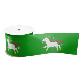 Christmas Unicorn with Stars 3 Inches Satin Ribbon