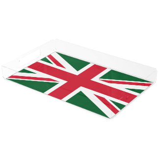 Christmas Union Jack ~  Red, Green and White Acrylic Tray