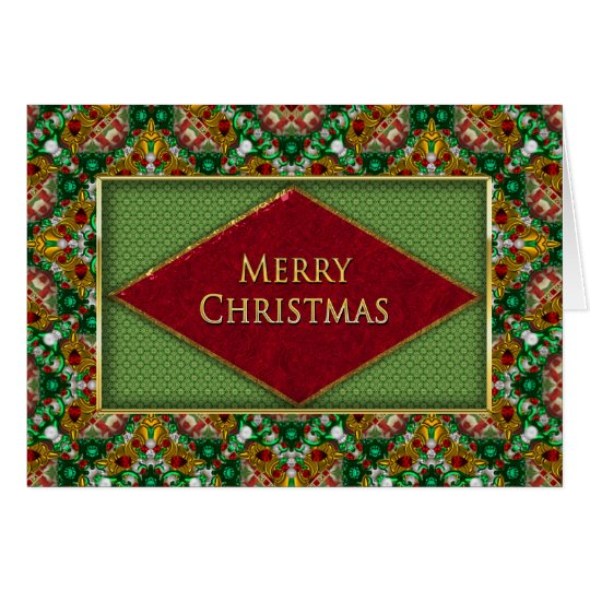CHRISTMAS - UNIQUE PATTERN WITH FAUX JEWELS CARD