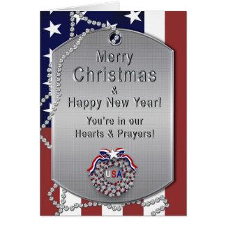 Christmas - USA Military - Dog Tags/Wreath Card