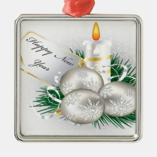 Christmas vector illustration square metal christmas ornament
