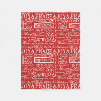 Christmas Verse Red and White Fleece Blanket