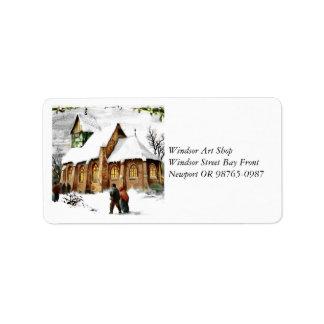 Christmas Village Church Address Label