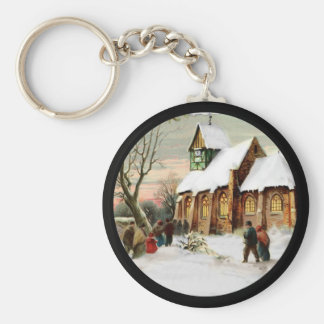 Christmas Village Church Basic Round Button Key Ring