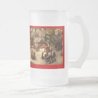 CHRISTMAS VILLAGE GLASS MUGS