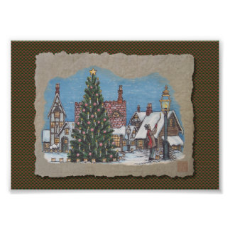 Christmas Village Lamplighter Photograph