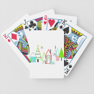 christmas village mid century modern bicycle playing cards