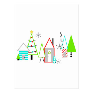 christmas village mid century modern postcard
