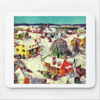 Christmas Village Scene Mouse Pad