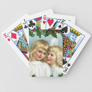 Christmas Vintage Angels and Holly Bicycle Playing Cards