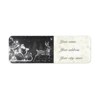 Christmas vintage black and white Santa decor Return Address Label