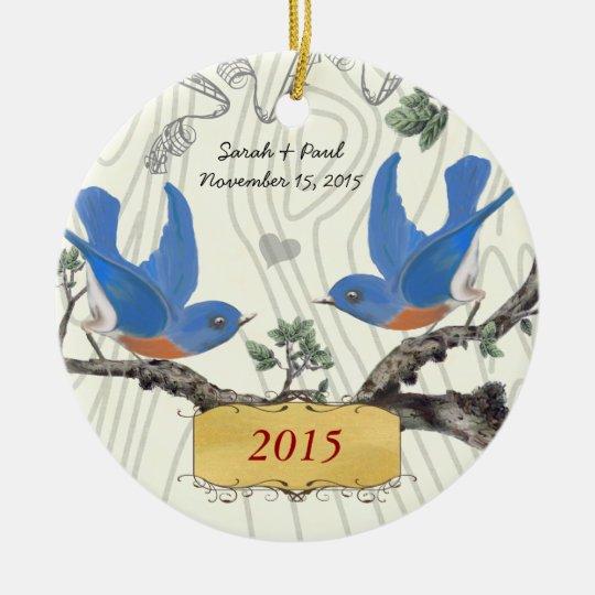Christmas Vintage Bluebirds on Wood Grain Ceramic Ornament