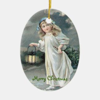 Christmas Vintage Girl Xmas Tree Ceramic Oval Decoration