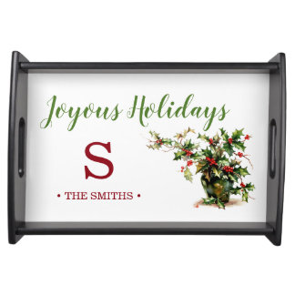 Christmas Vintage Holly Monogram Serving Tray