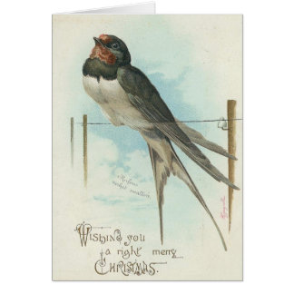 Christmas - Vintage Image Swallow Greeting Card