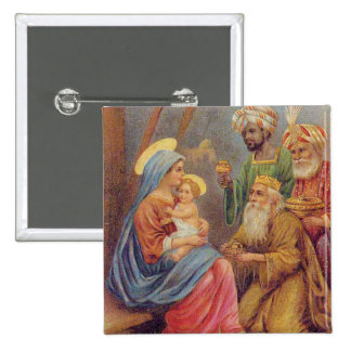 Christmas Vintage Nativity Jesus Illustration 15 Cm Square Badge