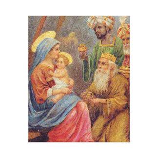 Christmas Vintage Nativity Jesus Illustration Canvas Print
