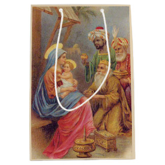 Christmas Vintage Nativity Jesus Illustration Medium Gift Bag