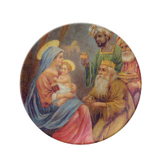 Christmas Vintage Nativity Jesus Illustration Plate