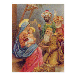 Christmas Vintage Nativity Jesus Illustration Postcard